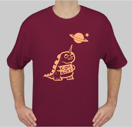 maroon T-shirt with dinocorn logo